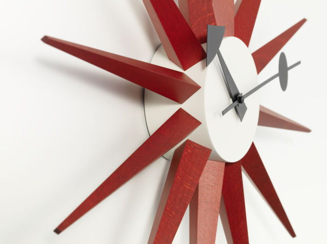 Sunburst Clock - Red